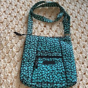 Vera Bradley turquoise and brown satchel